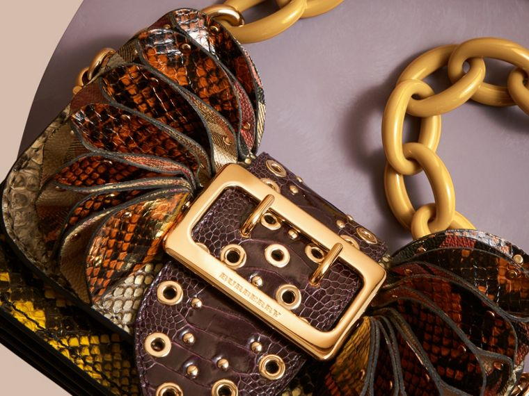 The Ruffle Buckle Bag in Snakeskin, Ostrich and Check