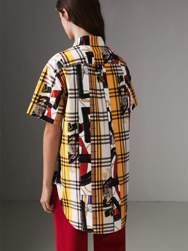 Short-sleeve Archive Scarf Print Check Cotton Shirt in Multicolour - Women | Burberry United Kingdom - cell image 2