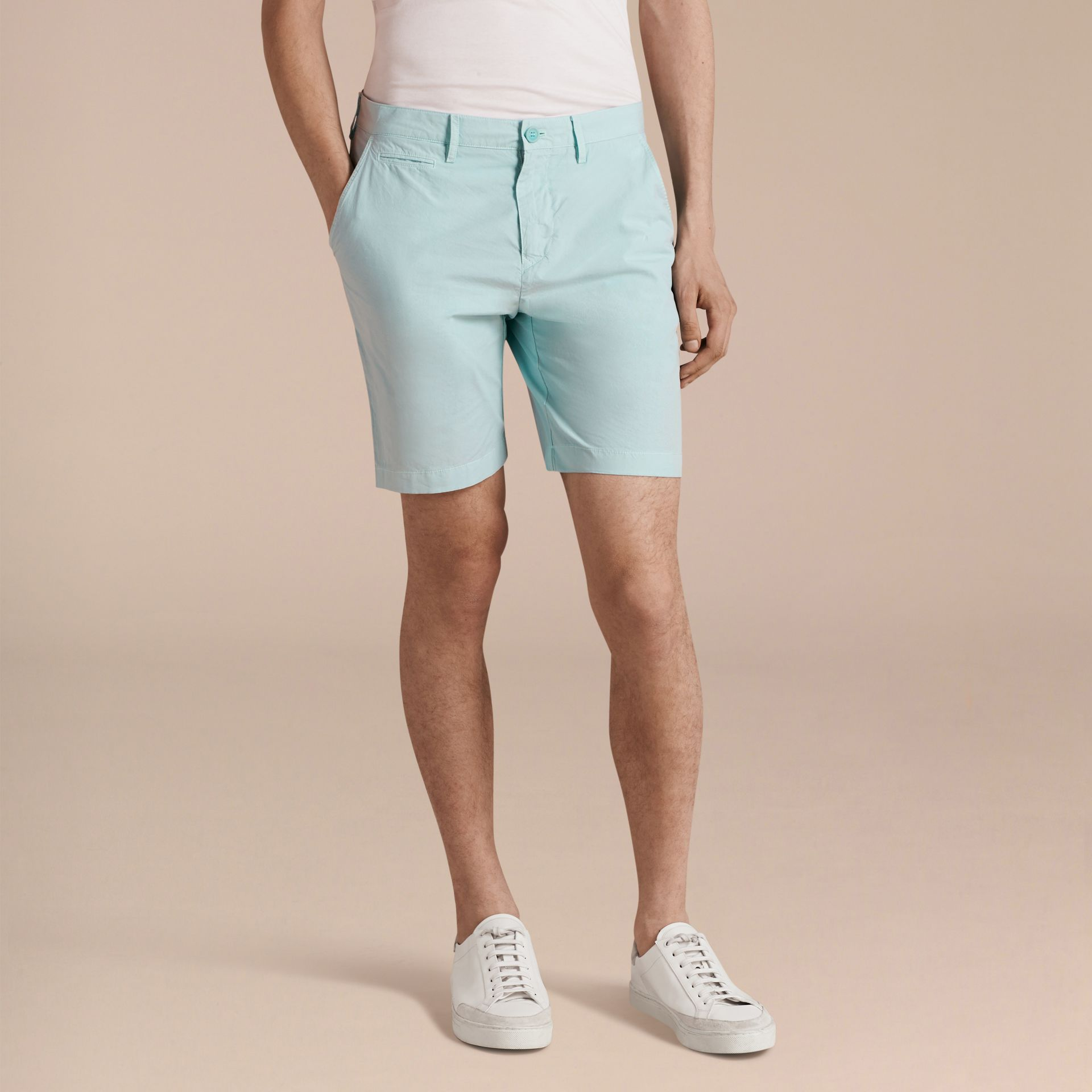 Pearl blue Cotton Poplin Chino Shorts Pearl Blue - gallery image 6