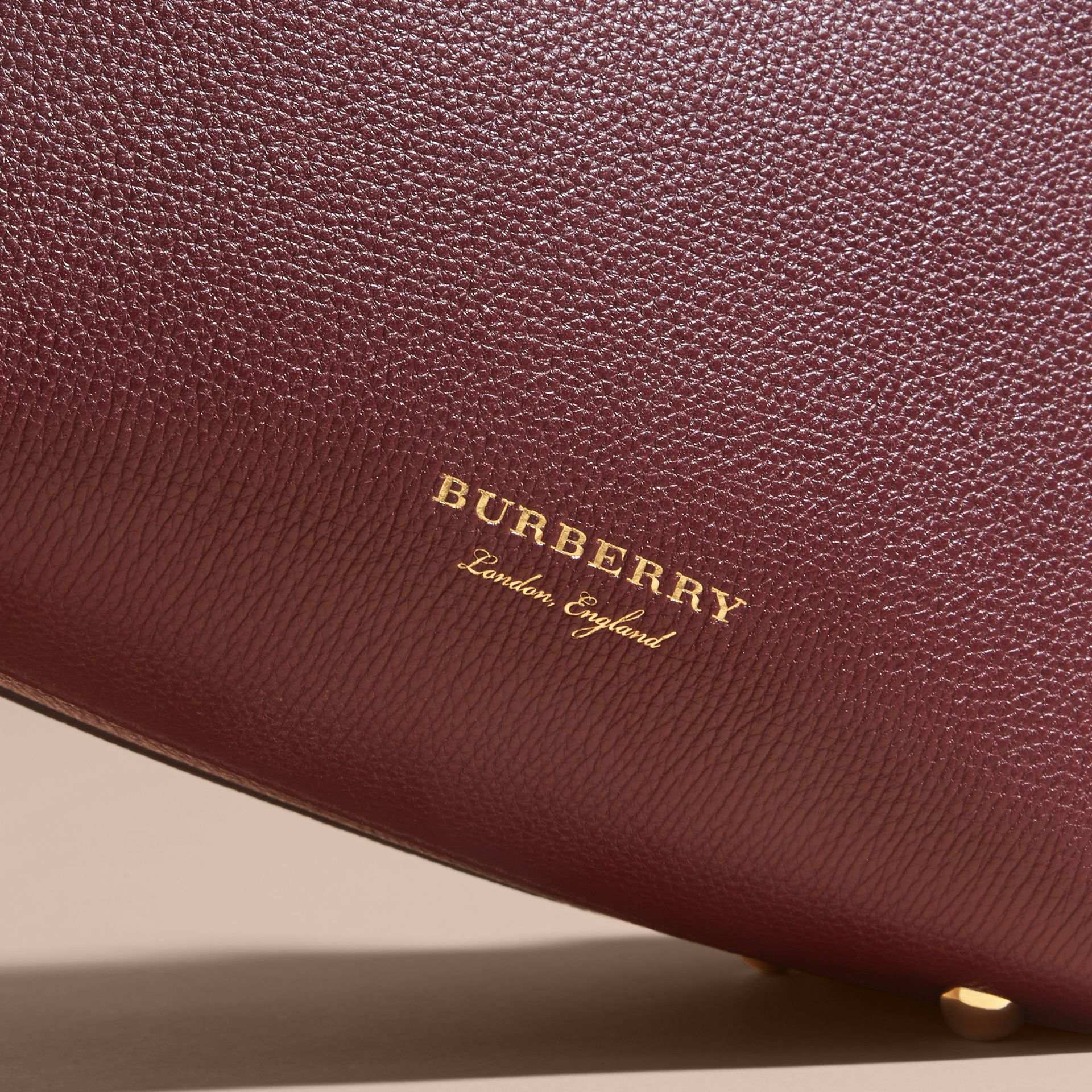 The Baby Banner in Leather and House Check in Mahogany Red - Women | Burberry - gallery image 2