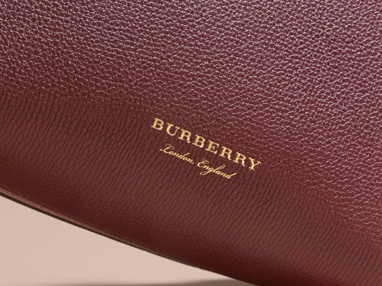 The Baby Banner in Leather and House Check in Mahogany Red - Women | Burberry Canada - cell image 1