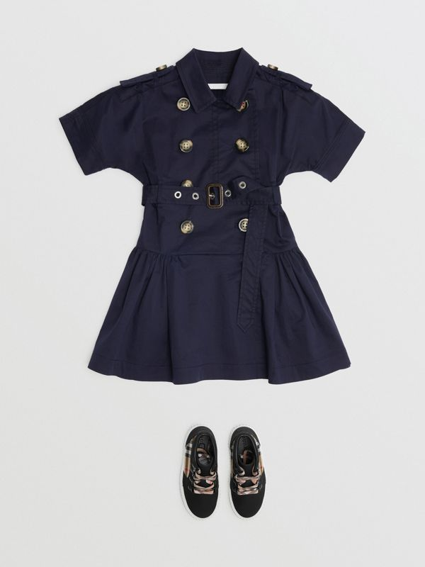 Stretch Cotton Trench Dress in Midnight | Burberry - cell image 2