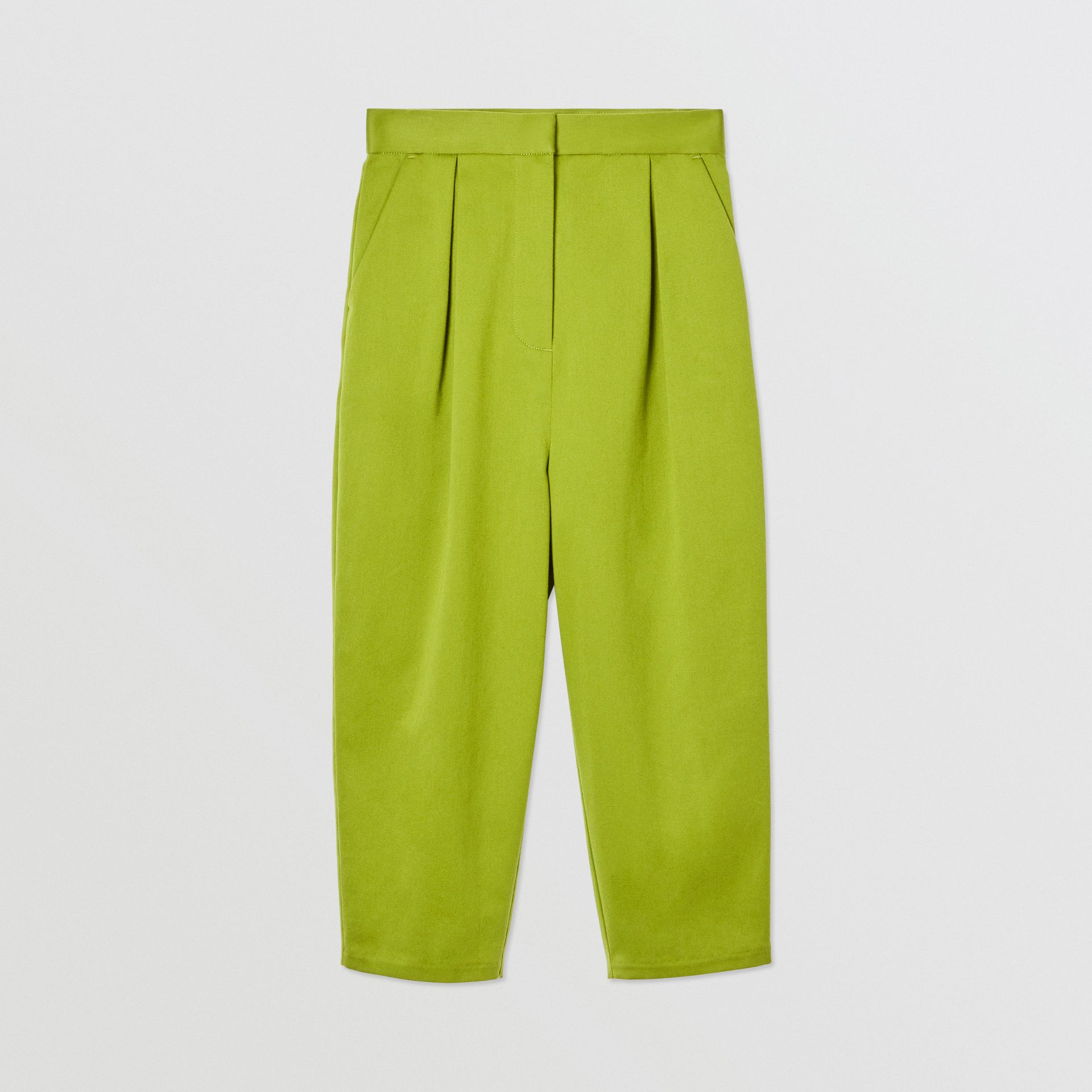 Cotton Sateen Tapered Trousers in Bright Green - Girl | Burberry - gallery image 0