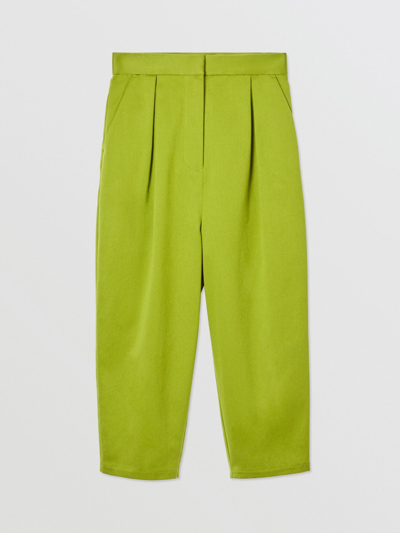 Cotton Sateen Tapered Trousers in Bright Green