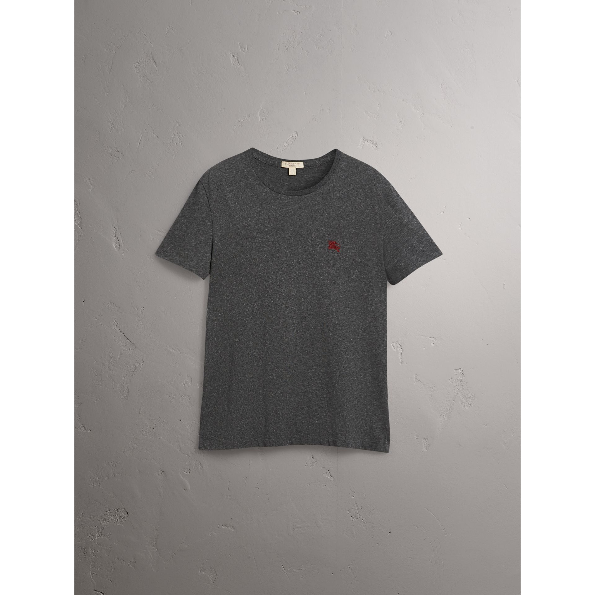 Cotton Jersey T-shirt in Dark Grey Melange - Men | Burberry Australia - gallery image 4