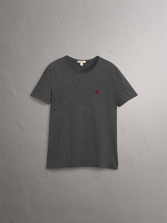 Cotton Jersey T-shirt in Dark Grey Melange - Men | Burberry - cell image 3