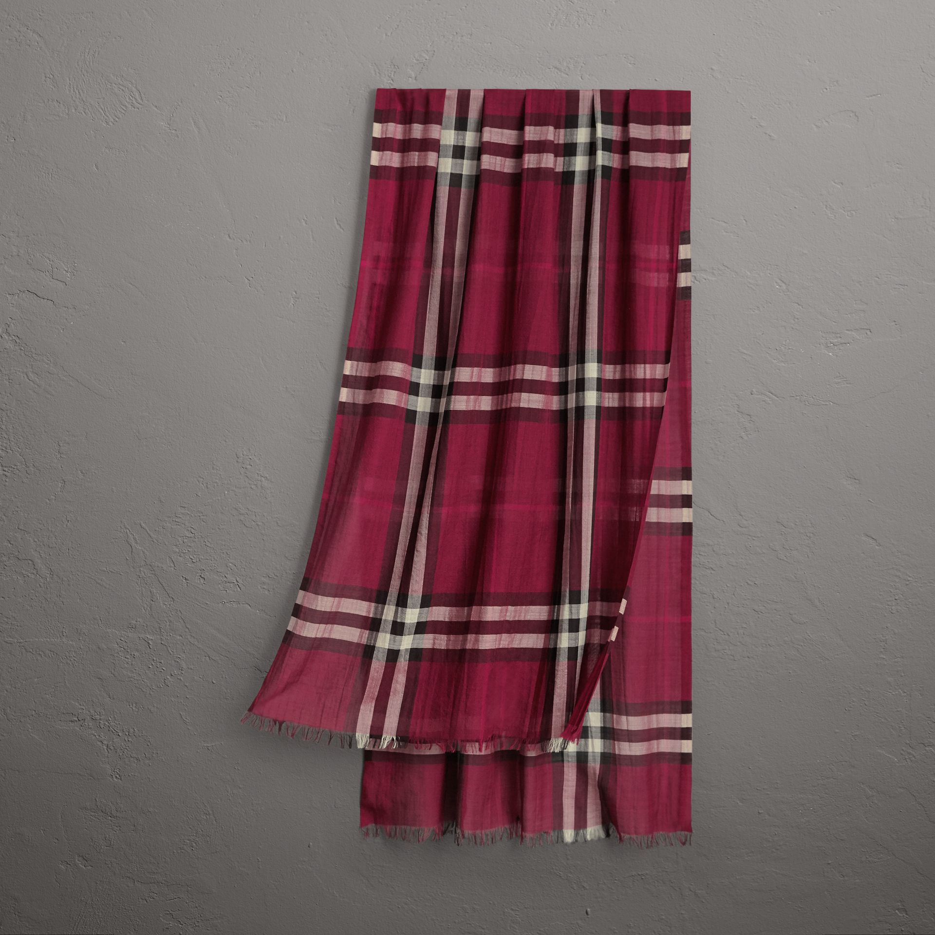 Lightweight Check Wool and Silk Scarf in Plum | Burberry - gallery image 0