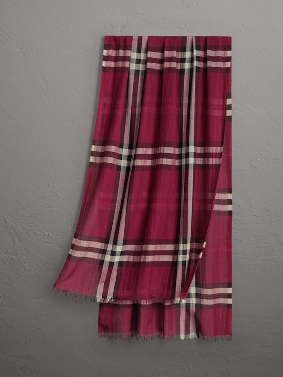 Lightweight Check Wool and Silk Scarf in Plum
