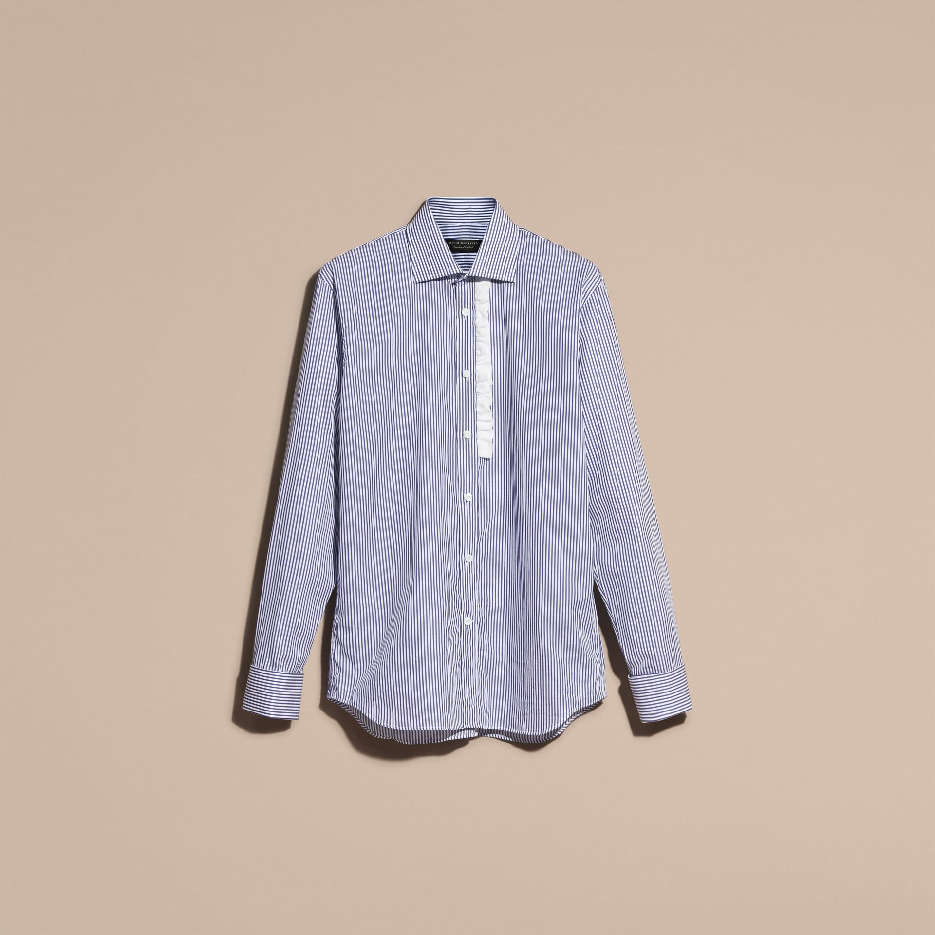 Mid indigo Ruffle Detail Striped Cotton Shirt - gallery image 4