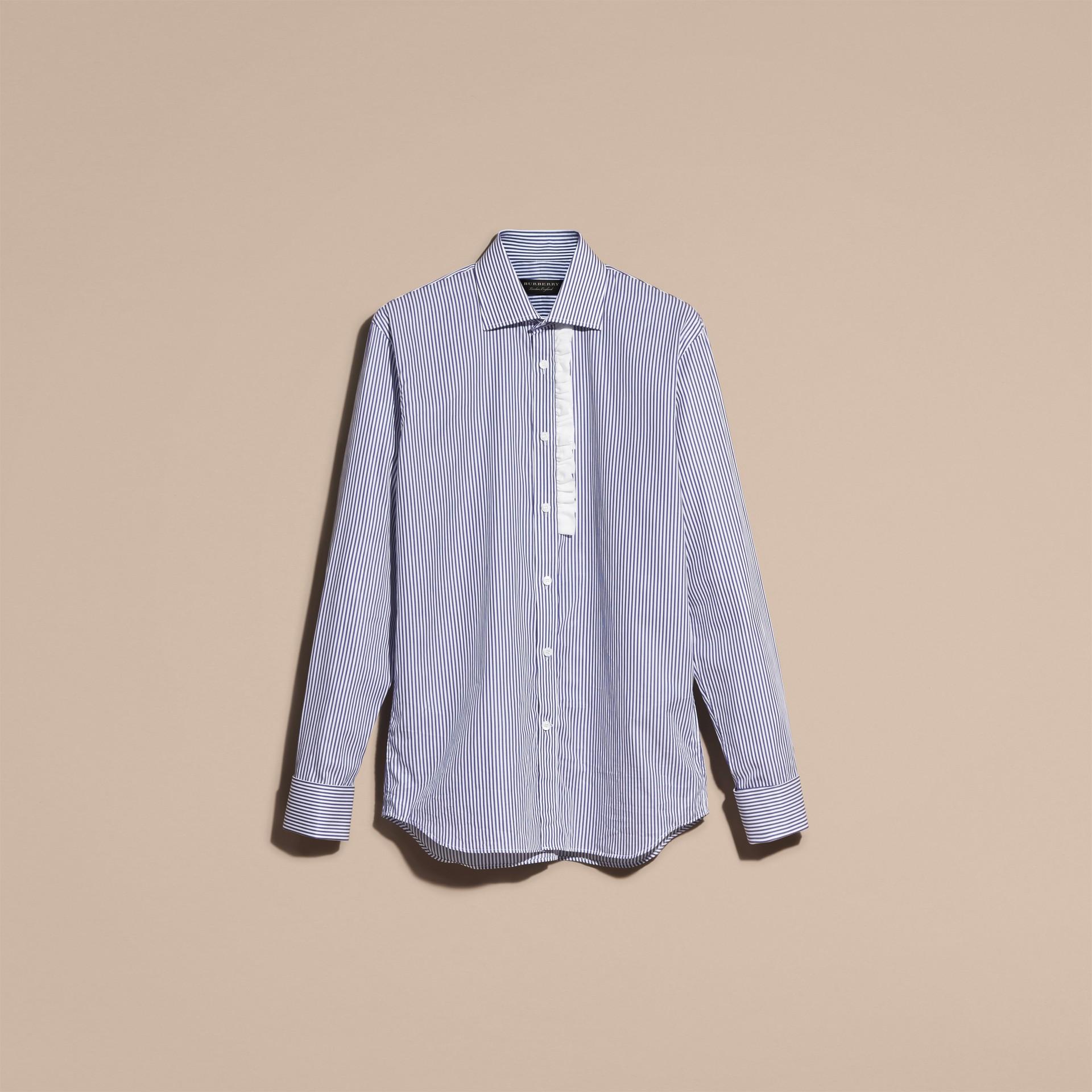 Indaco medio Camicia in cotone a righe con arricciature - immagine della galleria 4