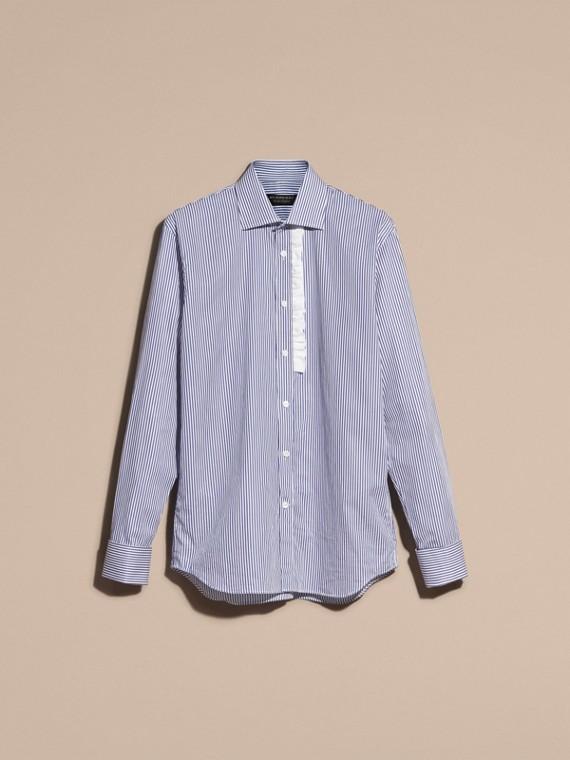 Indaco medio Camicia in cotone a righe con arricciature - cell image 3