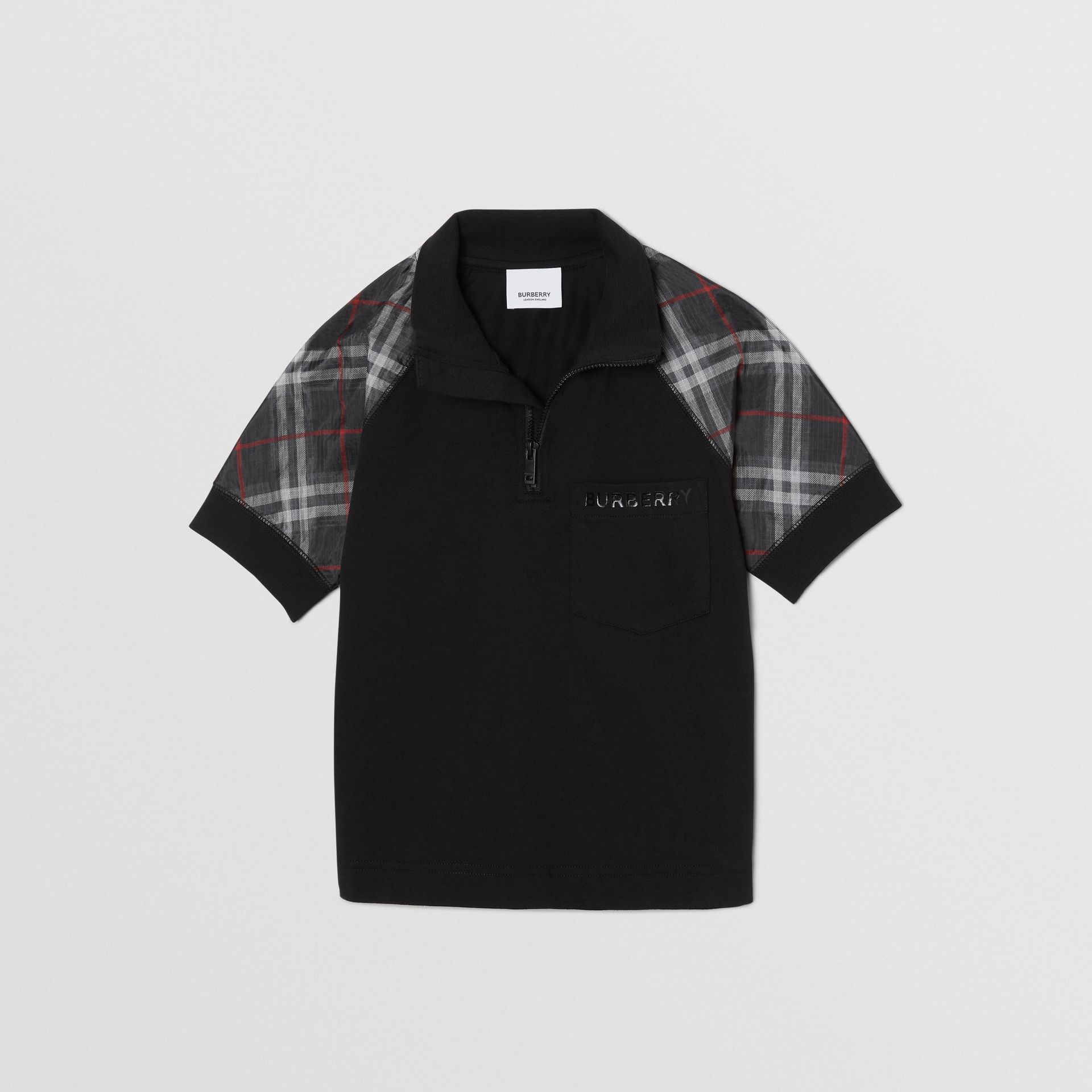 Vintage Check Detail Cotton Zip-front Polo Shirt in Black - Boy | Burberry - gallery image 2