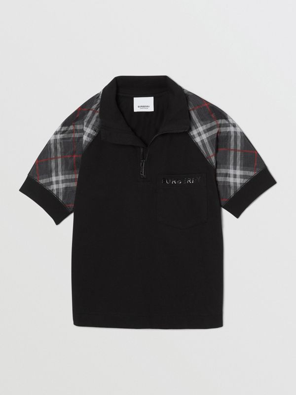 Vintage Check Detail Cotton Zip-front Polo Shirt in Black - Boy | Burberry - cell image 2