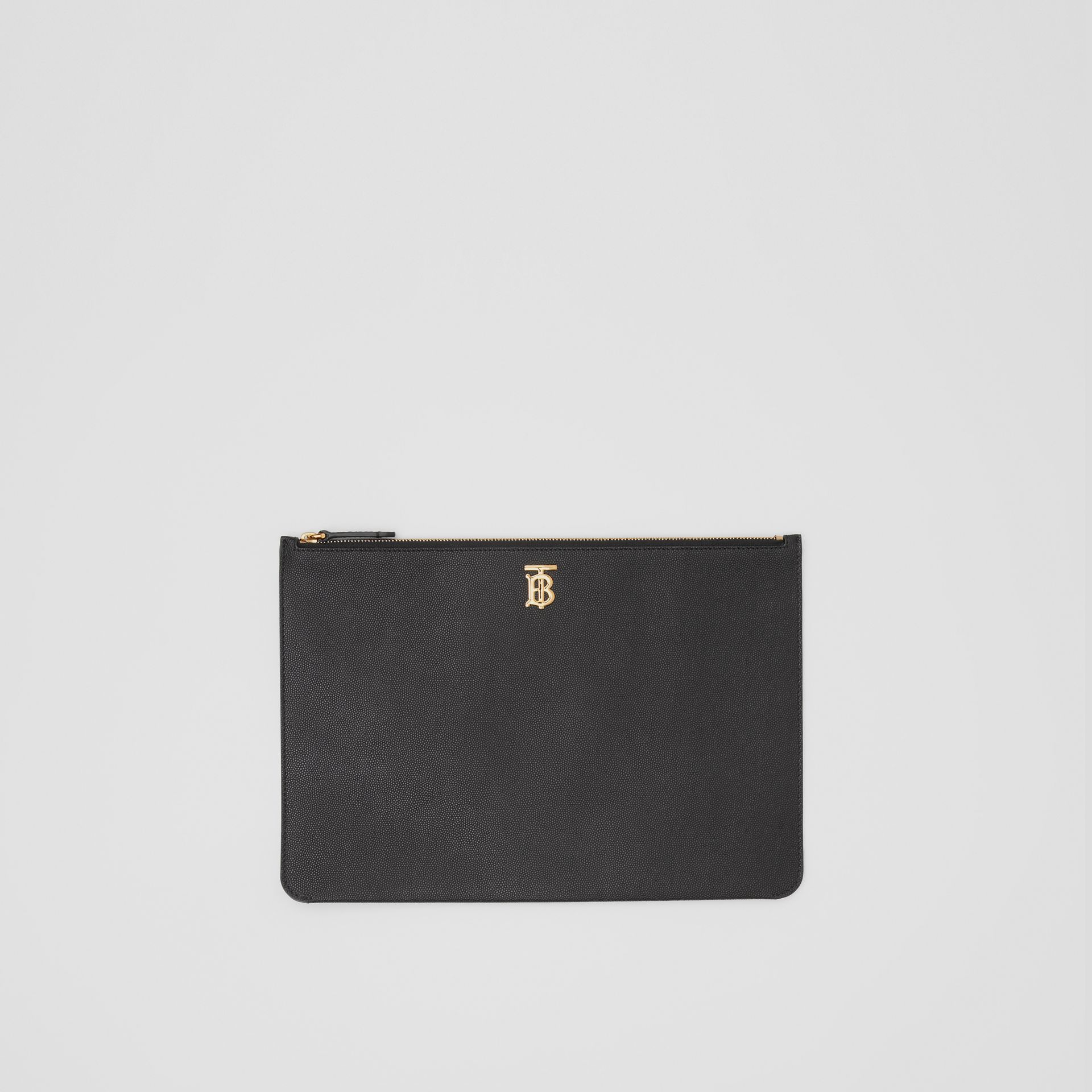 Monogram Motif Grainy Leather Pouch in Black - Women | Burberry - gallery image 0