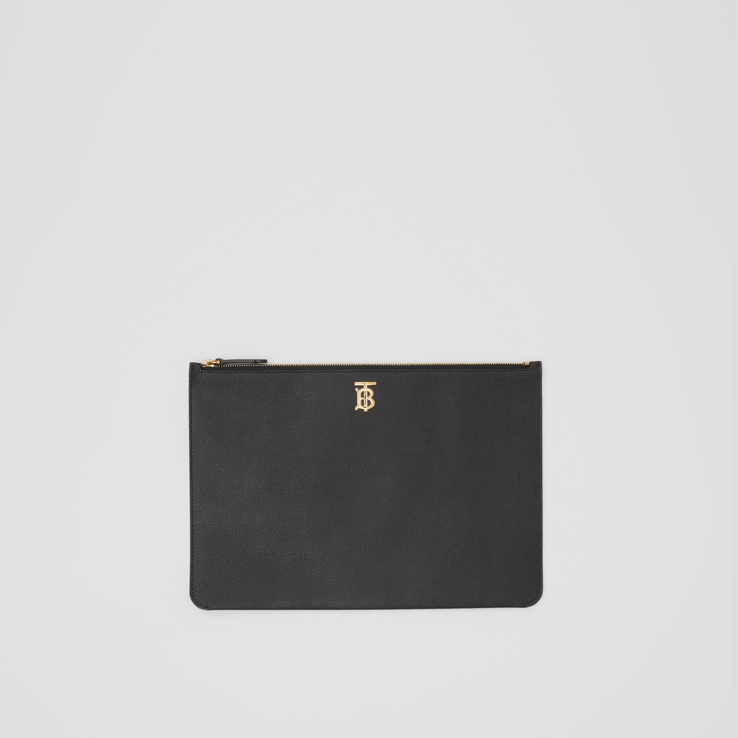 Monogram Motif Grainy Leather Pouch in Black - Women | Burberry - 1