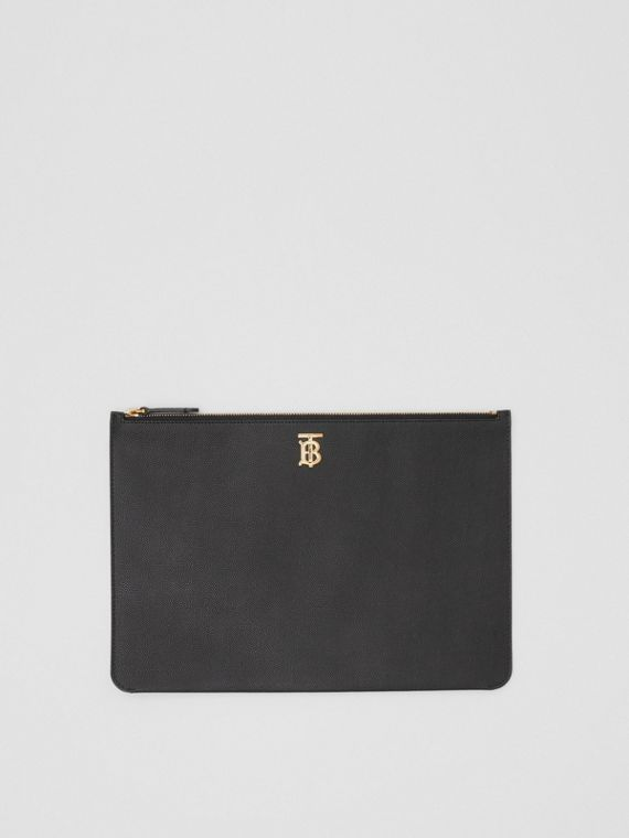 Monogram Motif Grainy Leather Pouch in Black