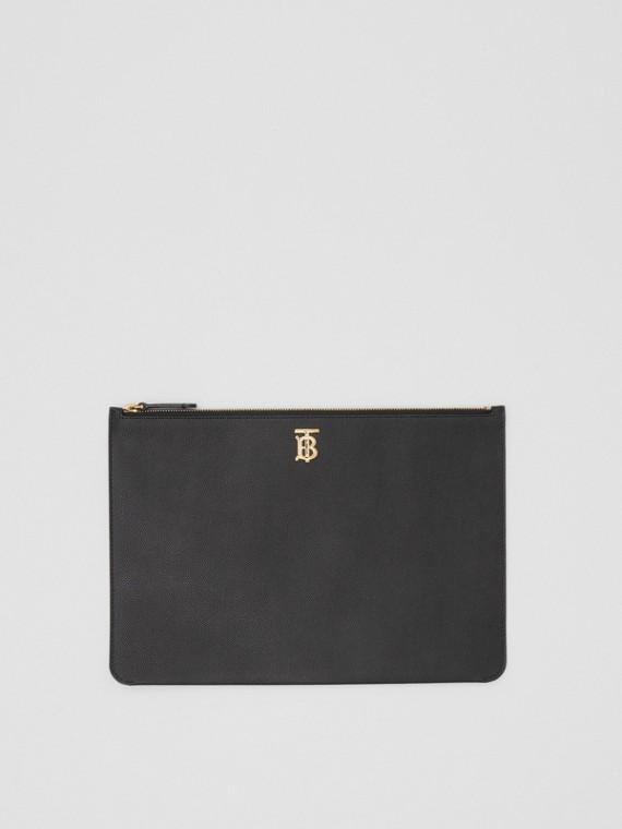 Bolsa pouch de couro granulado com monograma (Preto)