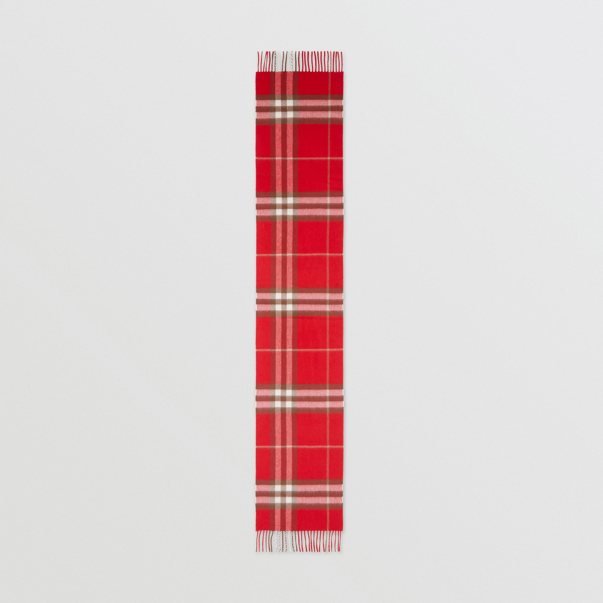 The Classic Check Cashmere Scarf in Red | Burberry - gallery image 4