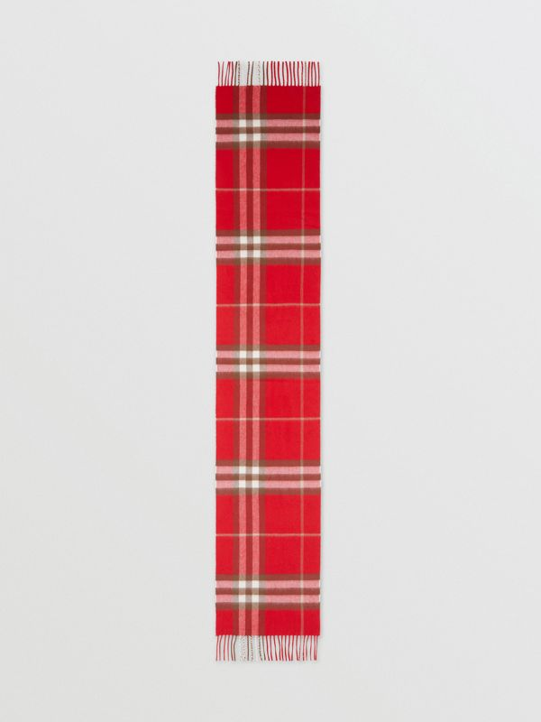 The Classic Check Cashmere Scarf in Red | Burberry - cell image 3