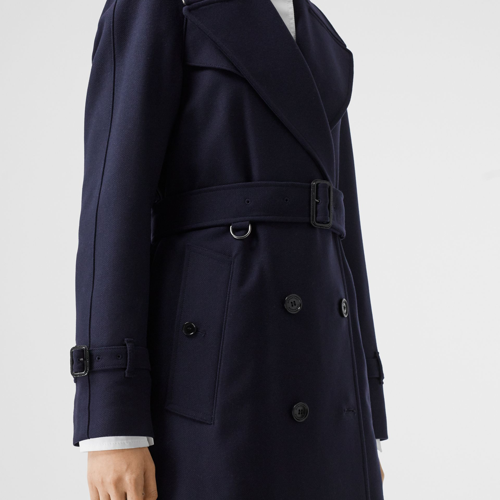 Herringbone Wool Cashmere Blend Trench Coat in Navy - Women | Burberry - gallery image 5