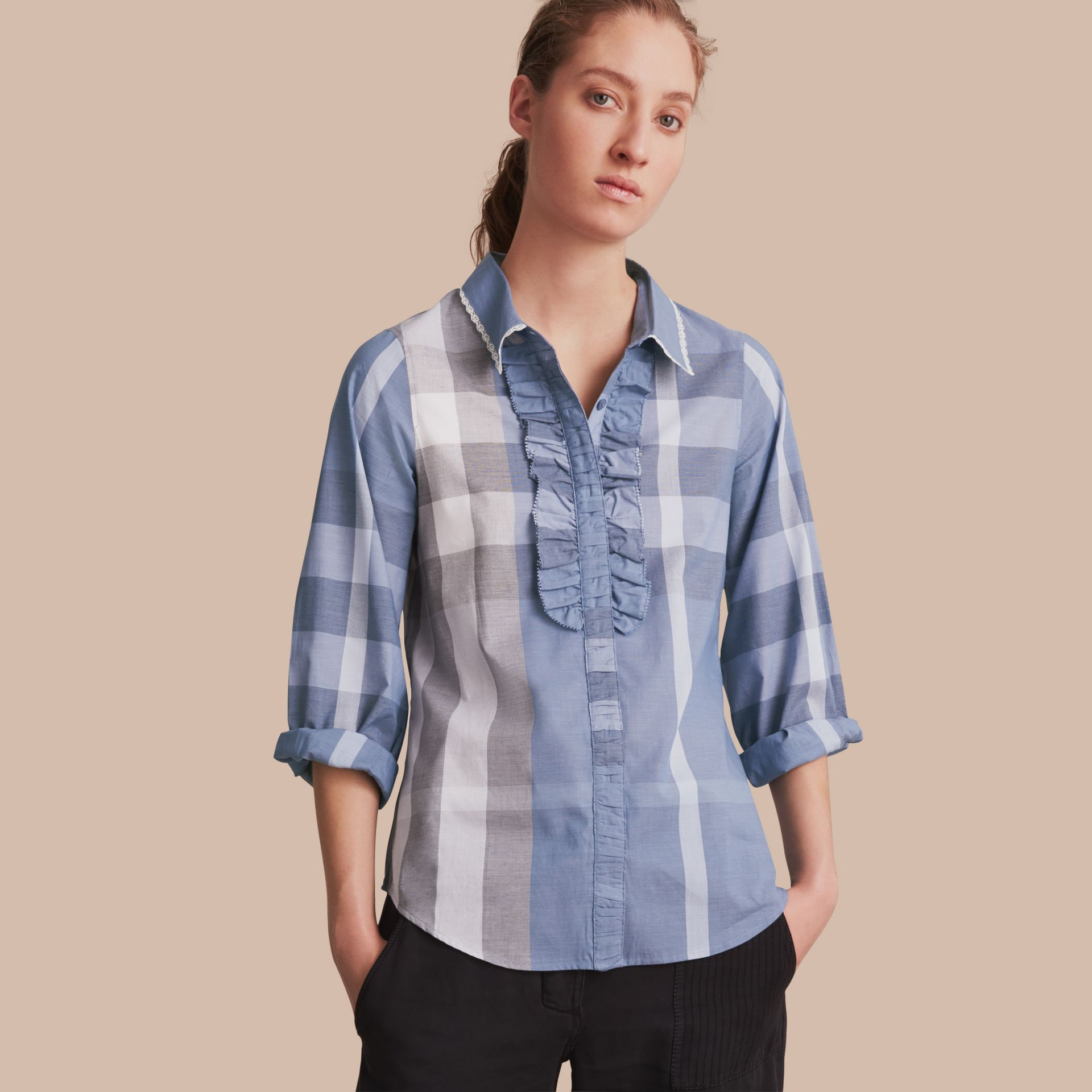 Ruffle Detail and Lace Trim Check Cotton Shirt Canvas Blue - gallery image 1