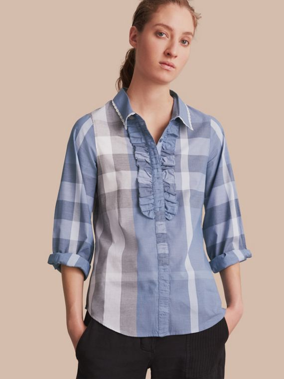 Ruffle Detail and Lace Trim Check Cotton Shirt Canvas Blue