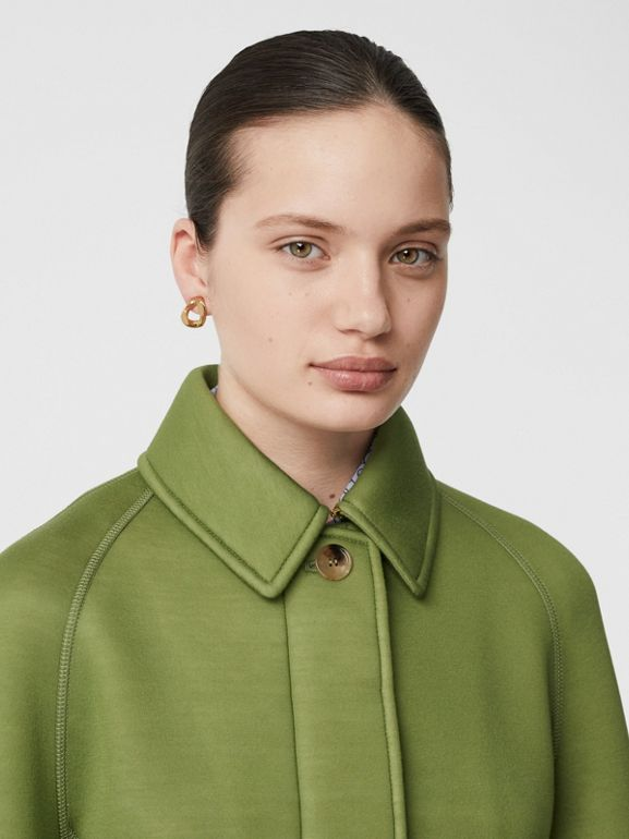 Bonded Neoprene Tailored Car Coat in Cedar Green - Women | Burberry Hong Kong S.A.R - cell image 1