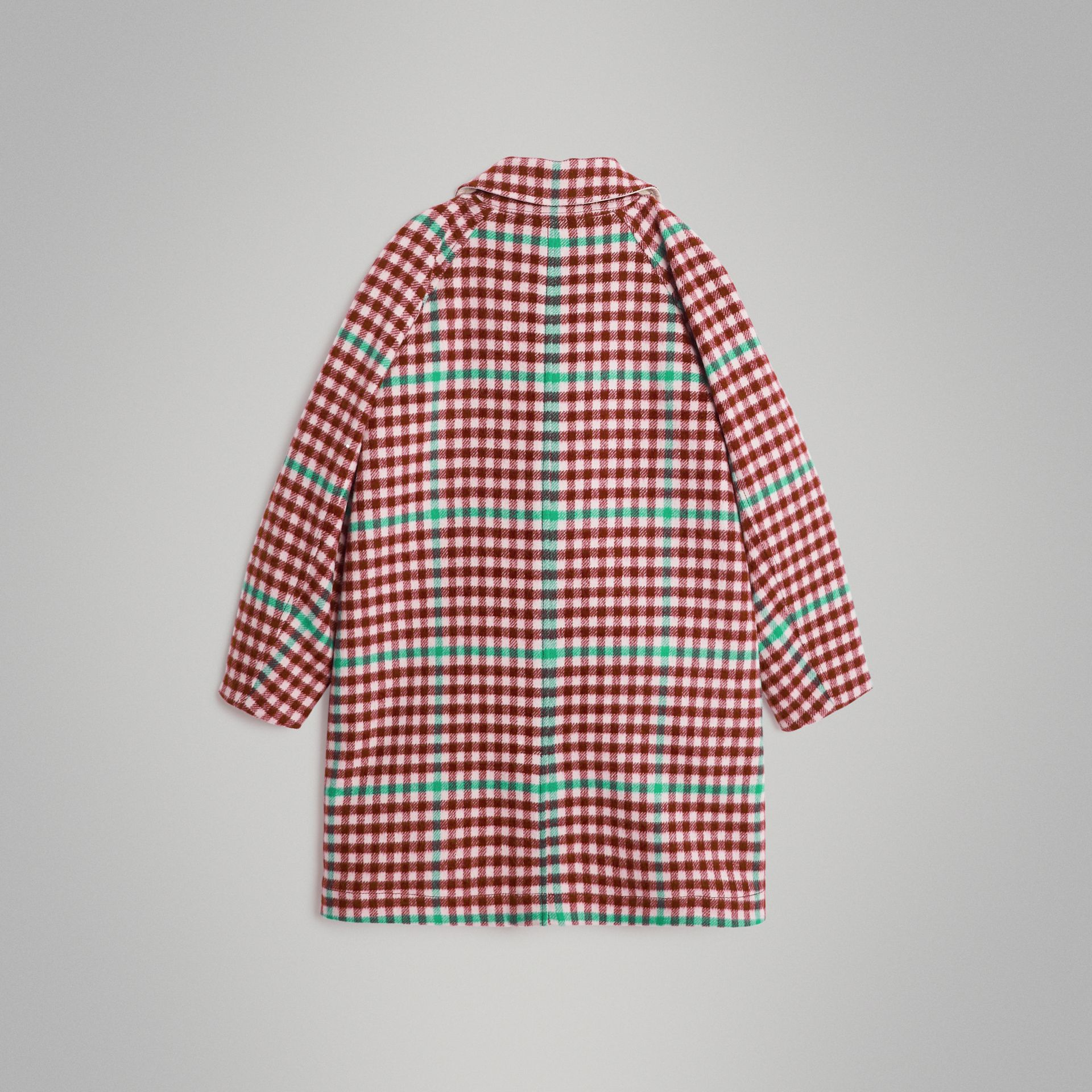 Reversible Check Wool and Cotton Car Coat in Garnet Pink | Burberry - gallery image 4