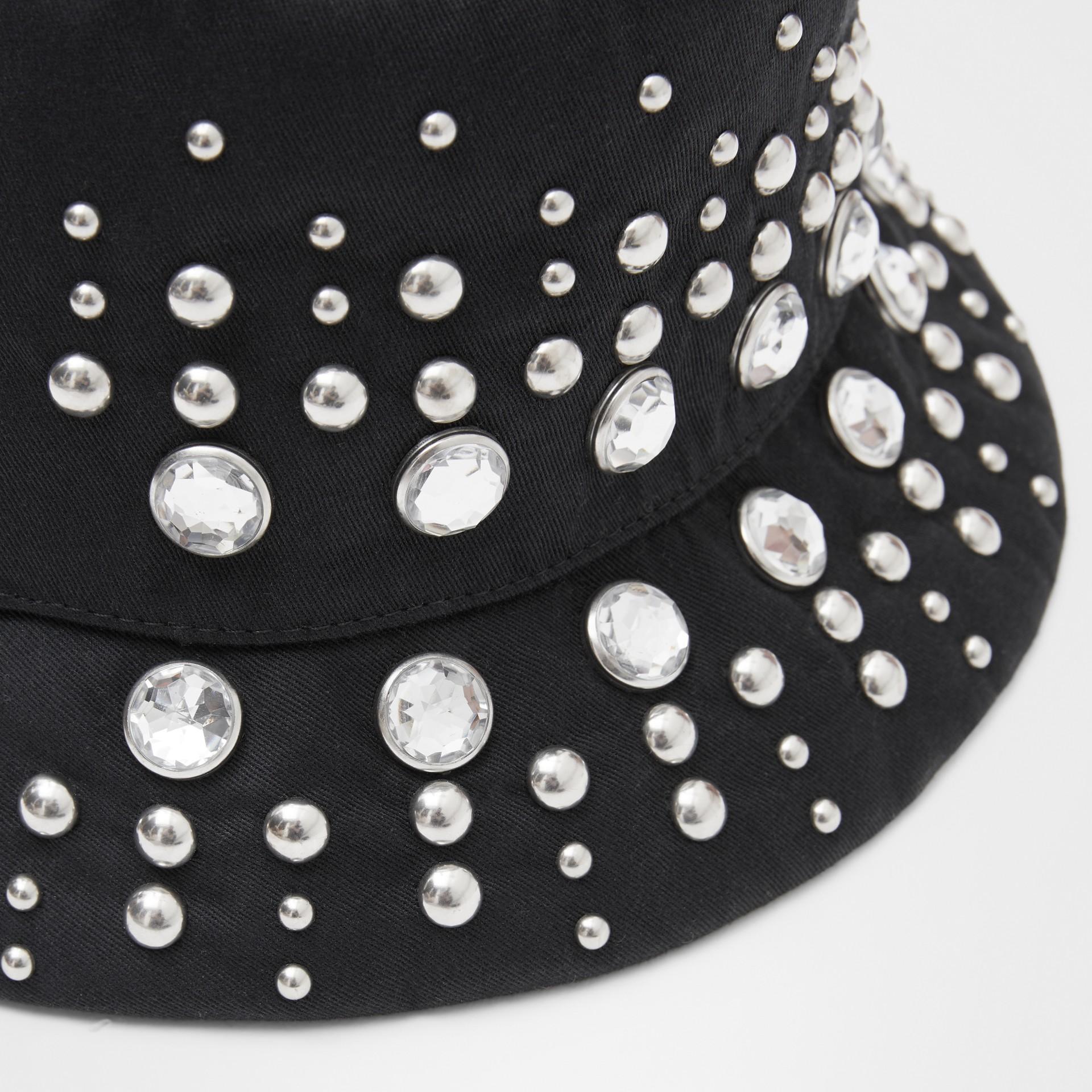 裝飾細節棉質斜紋漁夫帽 (黑色) | Burberry - 圖庫照片 1