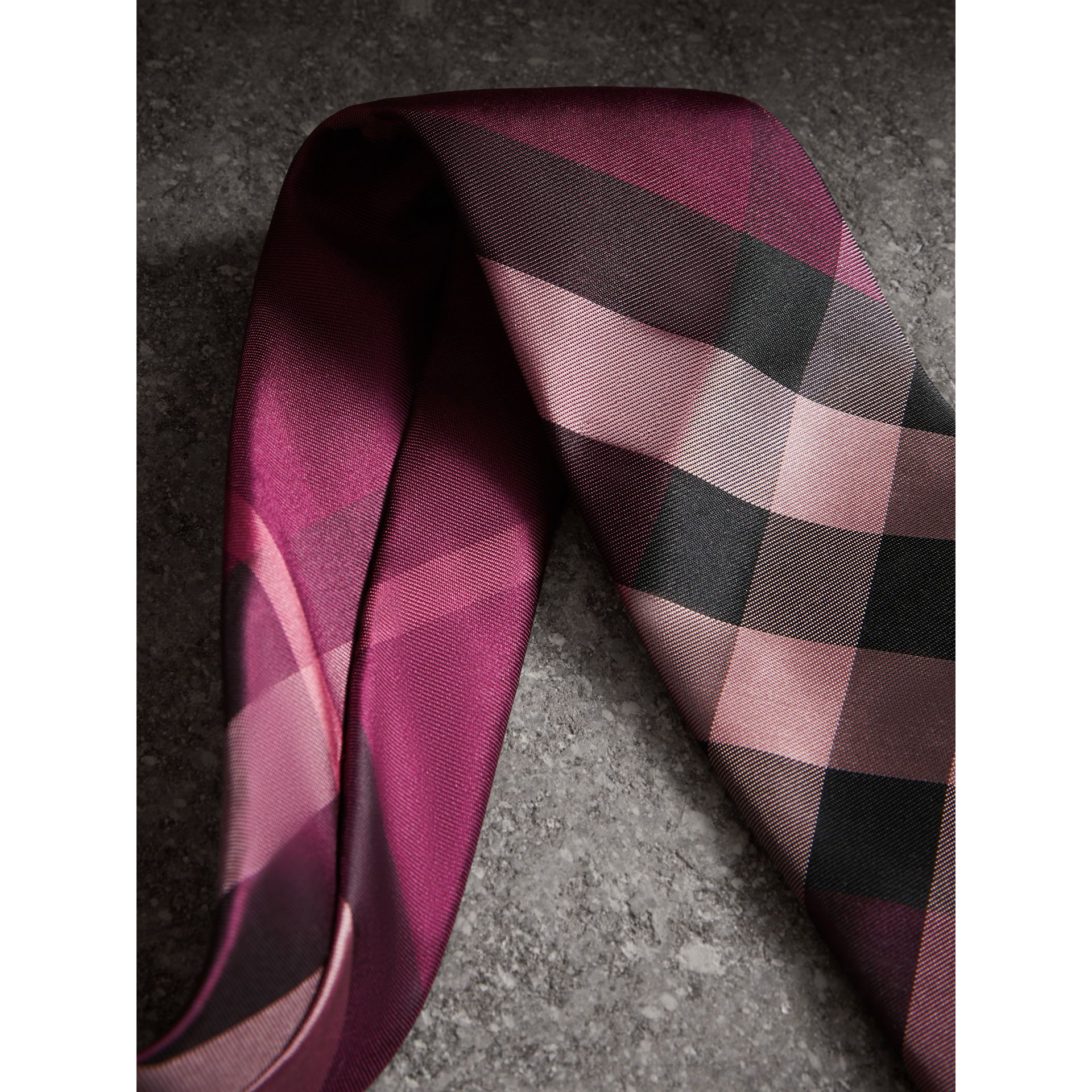 Modern Cut Check Silk Tie in Rose Pink - Men | Burberry Canada - gallery image 2
