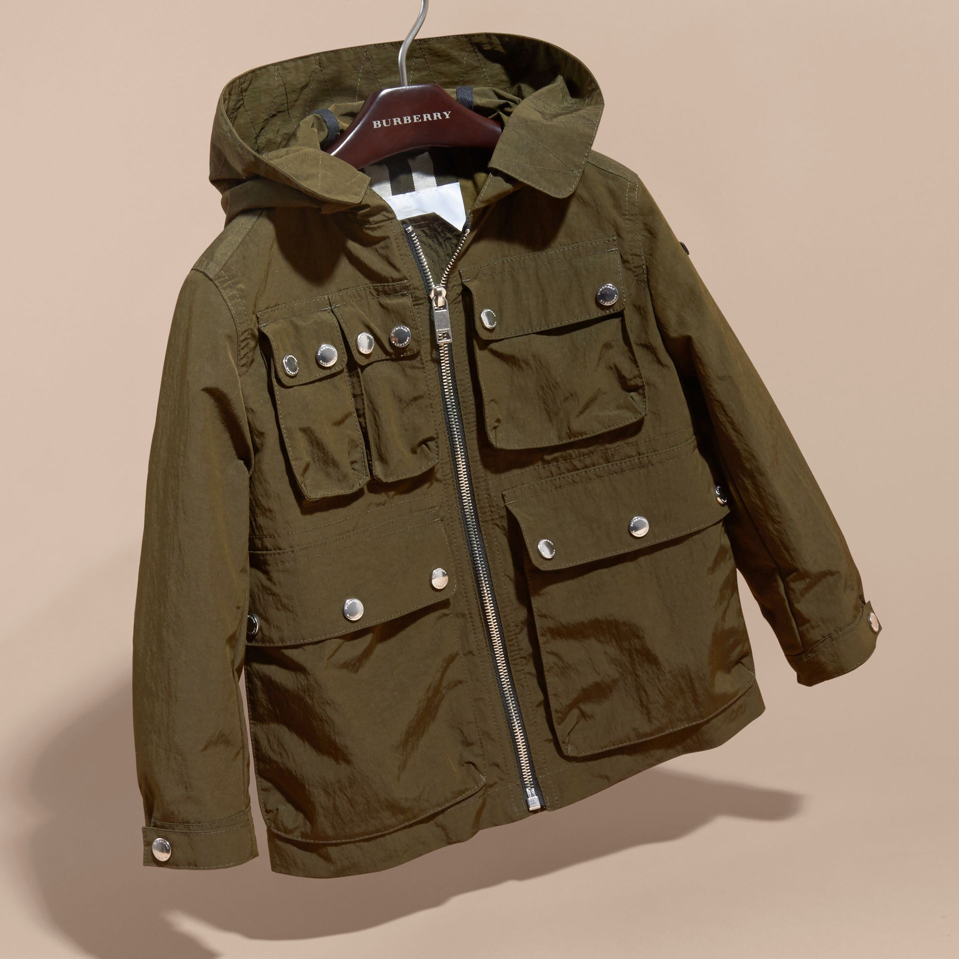 Hooded Field Jacket with Oversize Pocket Detail - gallery image 3