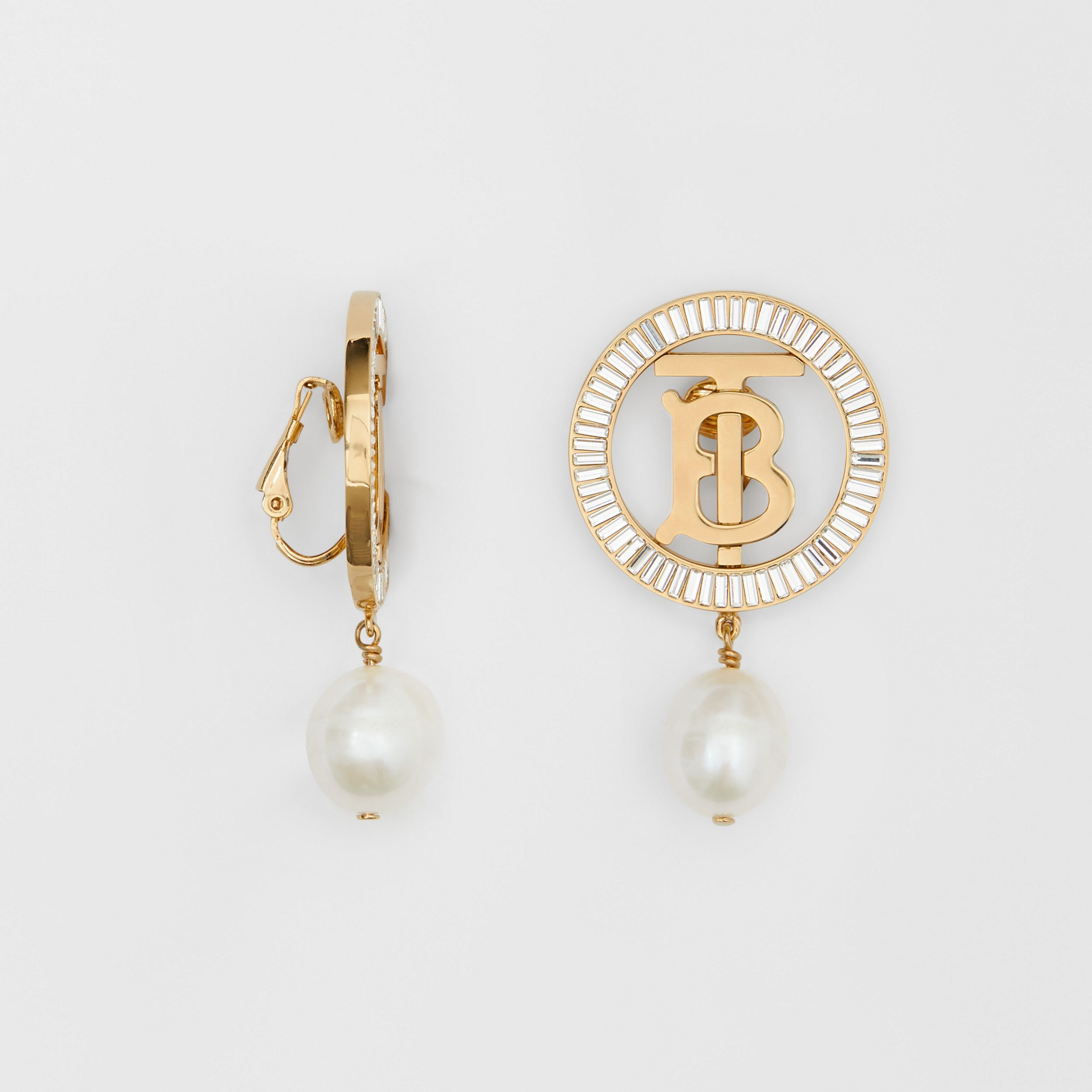 Pearl Detail Gold-plated Monogram Motif Earrings in Light Gold/crystal/white - Women | Burberry - 3