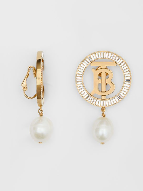 Pearl Detail Gold-plated Monogram Motif Earrings in Light Gold/crystal/white - Women | Burberry United Kingdom - cell image 2
