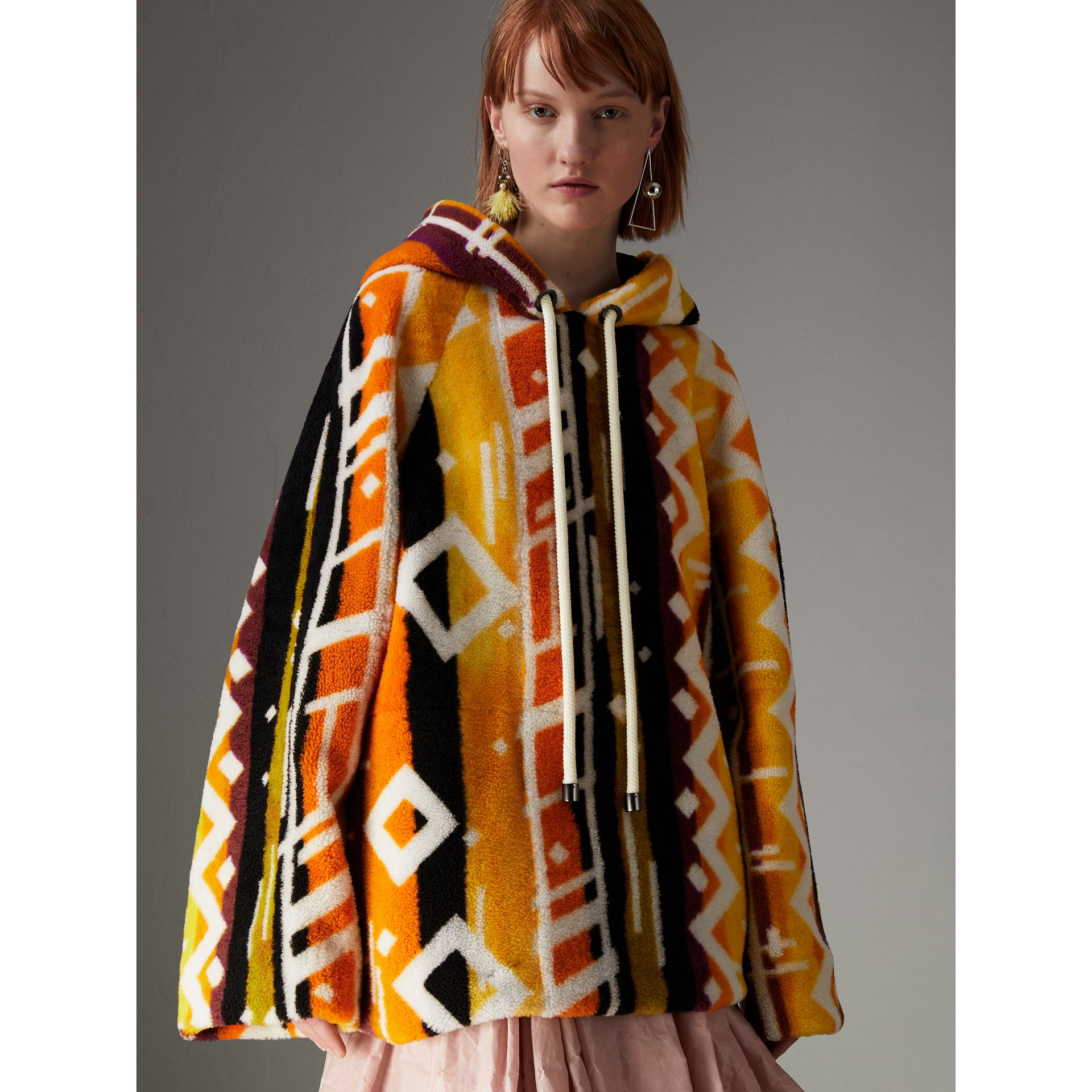 Clash Print Shearling Hoodie in Yellow - Women | Burberry - gallery image 5