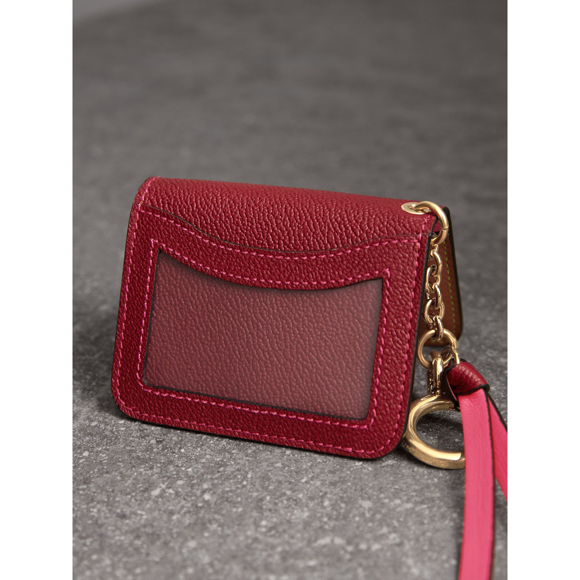 Leather and Haymarket Check ID Card Case Charm in Parade Red/multicolour - Women | Burberry - gallery image 3