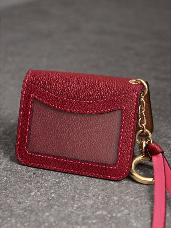 Leather and Haymarket Check ID Card Case Charm in Parade Red/multicolour - Women | Burberry - cell image 2