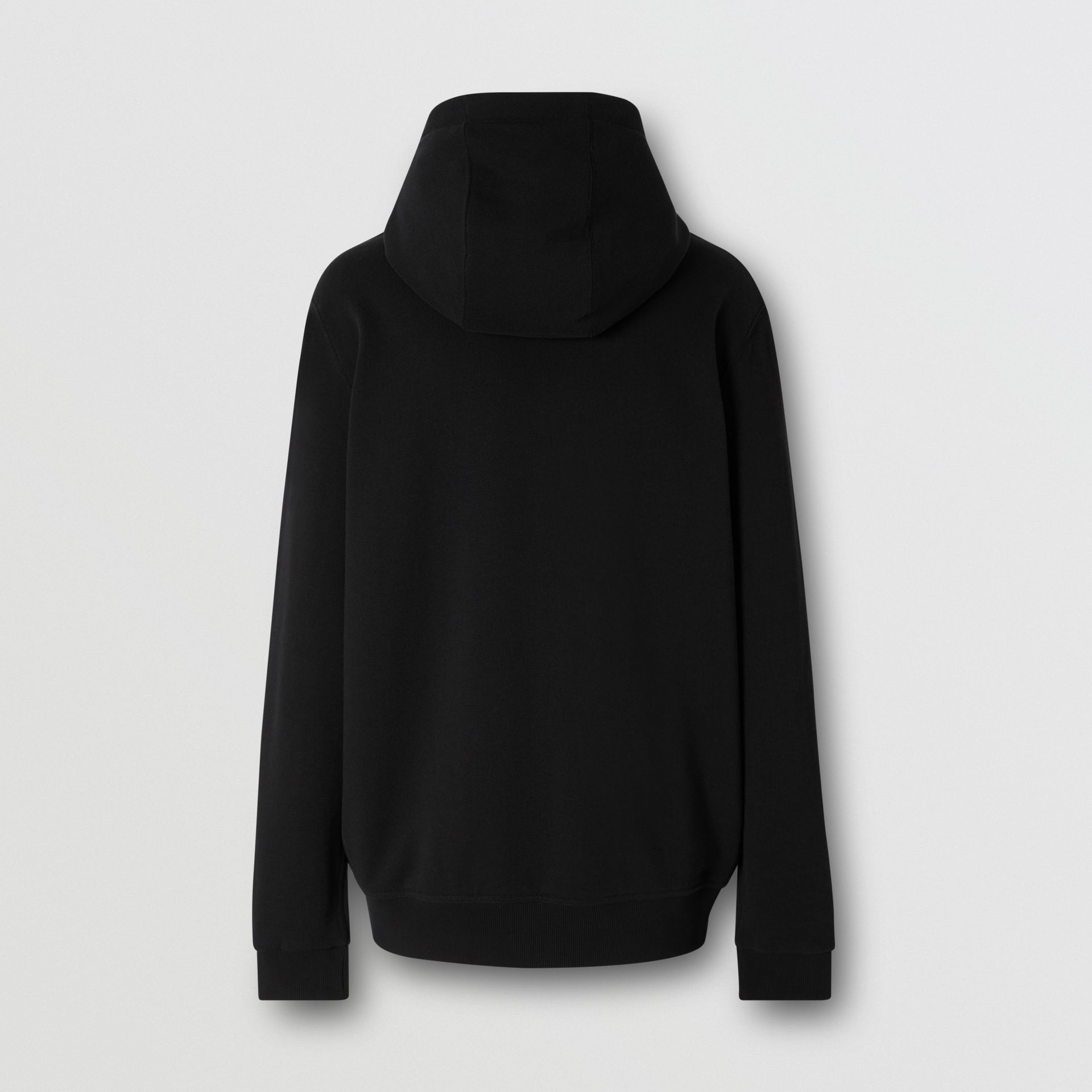 Contrast Logo Graphic Cotton Hooded Top in Black - Men | Burberry - gallery image 5