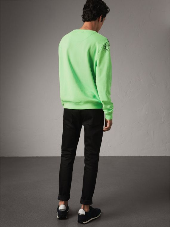 Doodle Print Cotton Sweatshirt in Bright Apple Green - Men | Burberry Australia - cell image 2