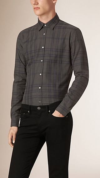 Slim Fit Check Cotton Flannel Shirt