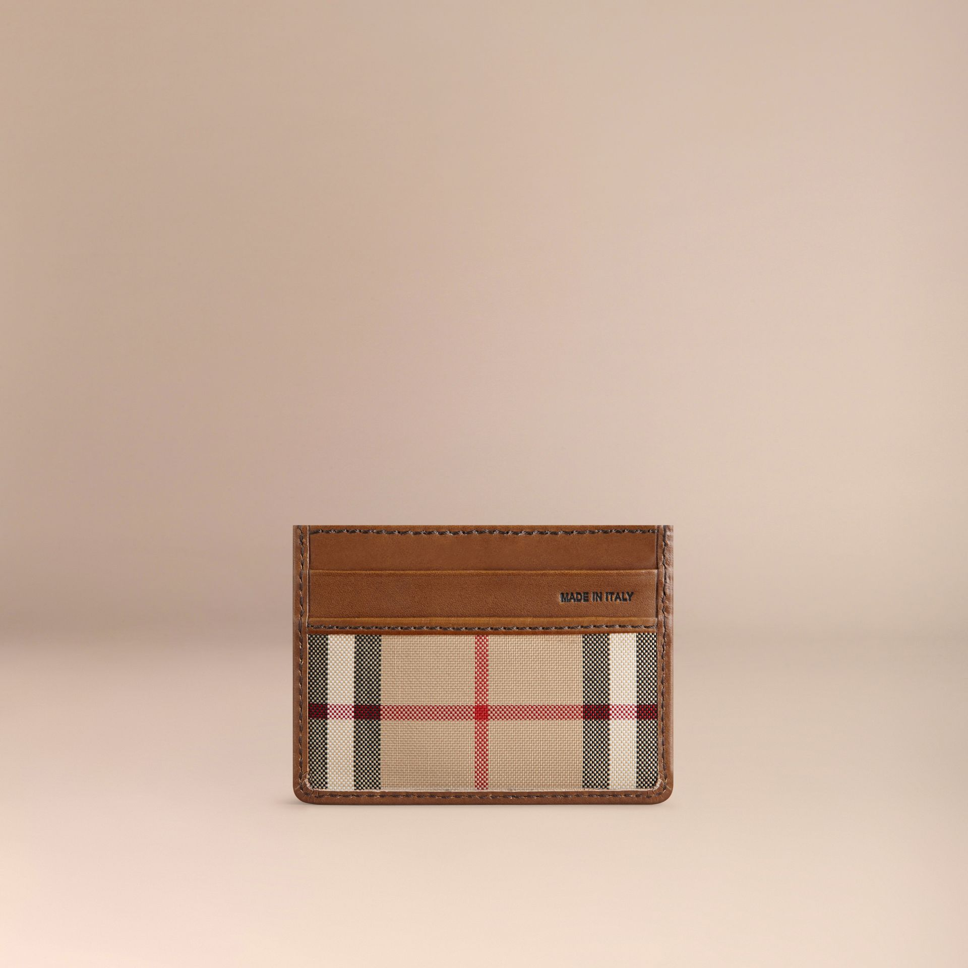 Horseferry Check Card Case in Tan - gallery image 3