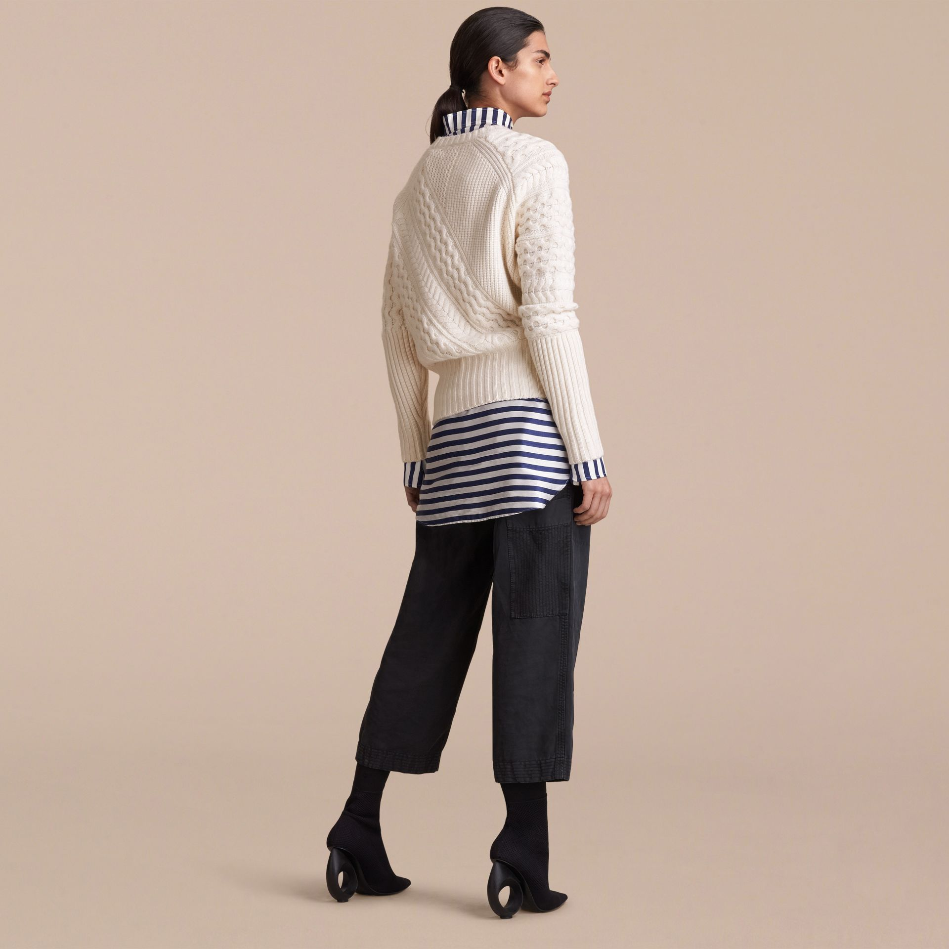 Cable and Rib Knit Panel Wool Cashmere Sweater in Natural White - Women | Burberry - gallery image 3