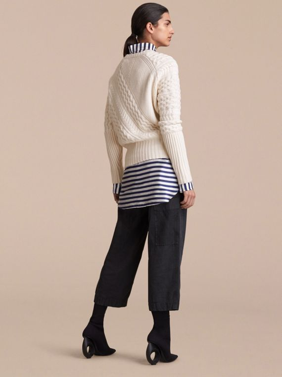 Cable and Rib Knit Panel Wool Cashmere Sweater in Natural White - Women | Burberry - cell image 2