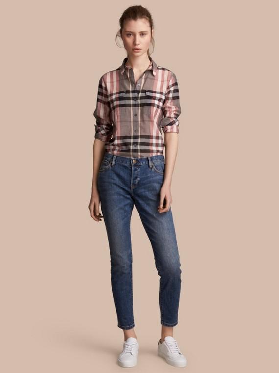 Chemise en coton à motif check Rose Cendré