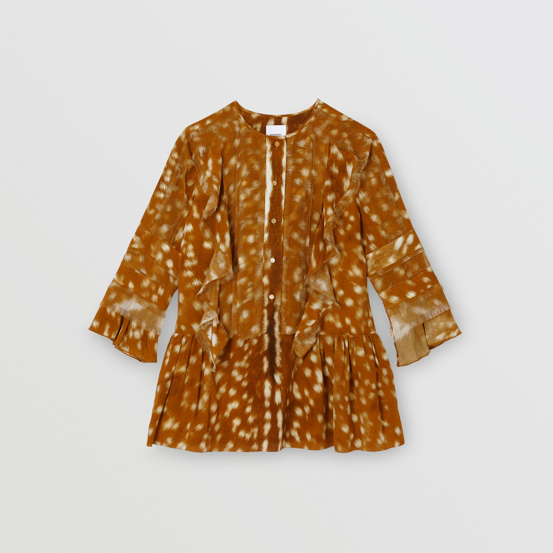 Ruffle Detail Deer Print Silk Dress in Honey | Burberry Australia - gallery image 0