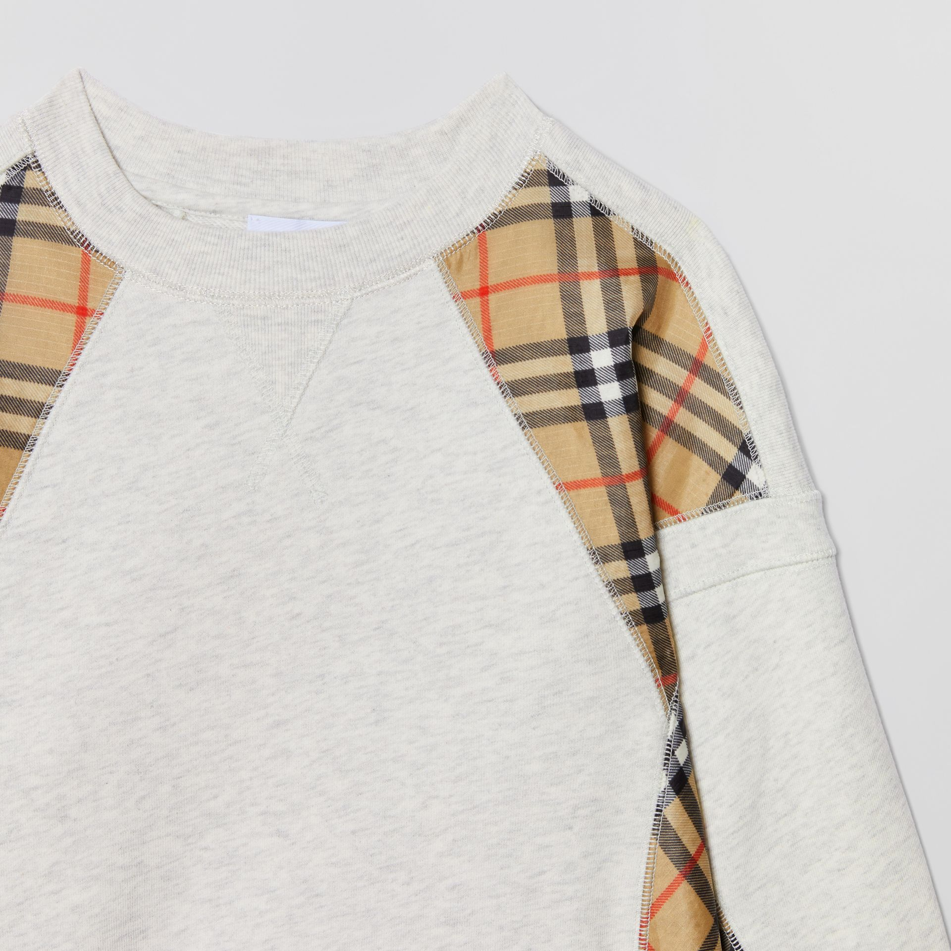 Vintage Check Panel Cotton Sweater Dress in White Melange | Burberry United Kingdom - gallery image 4