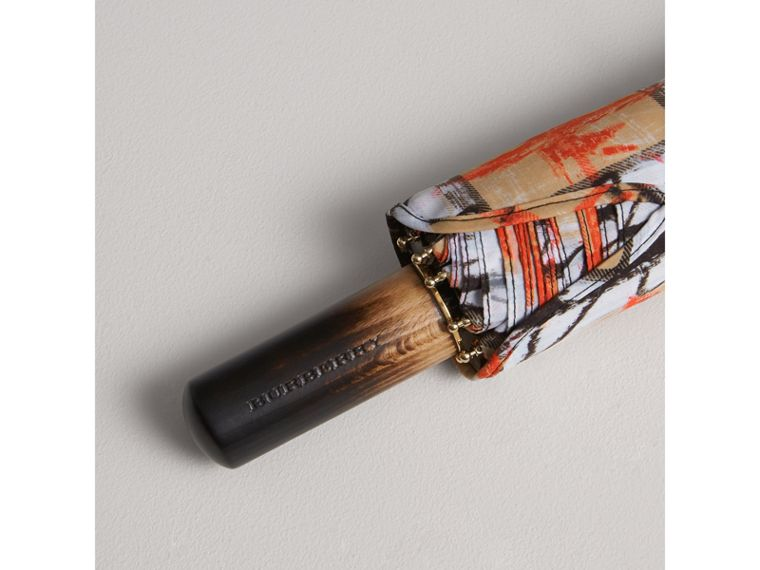 Scribble Check Folding Umbrella in Honey | Burberry - cell image 1
