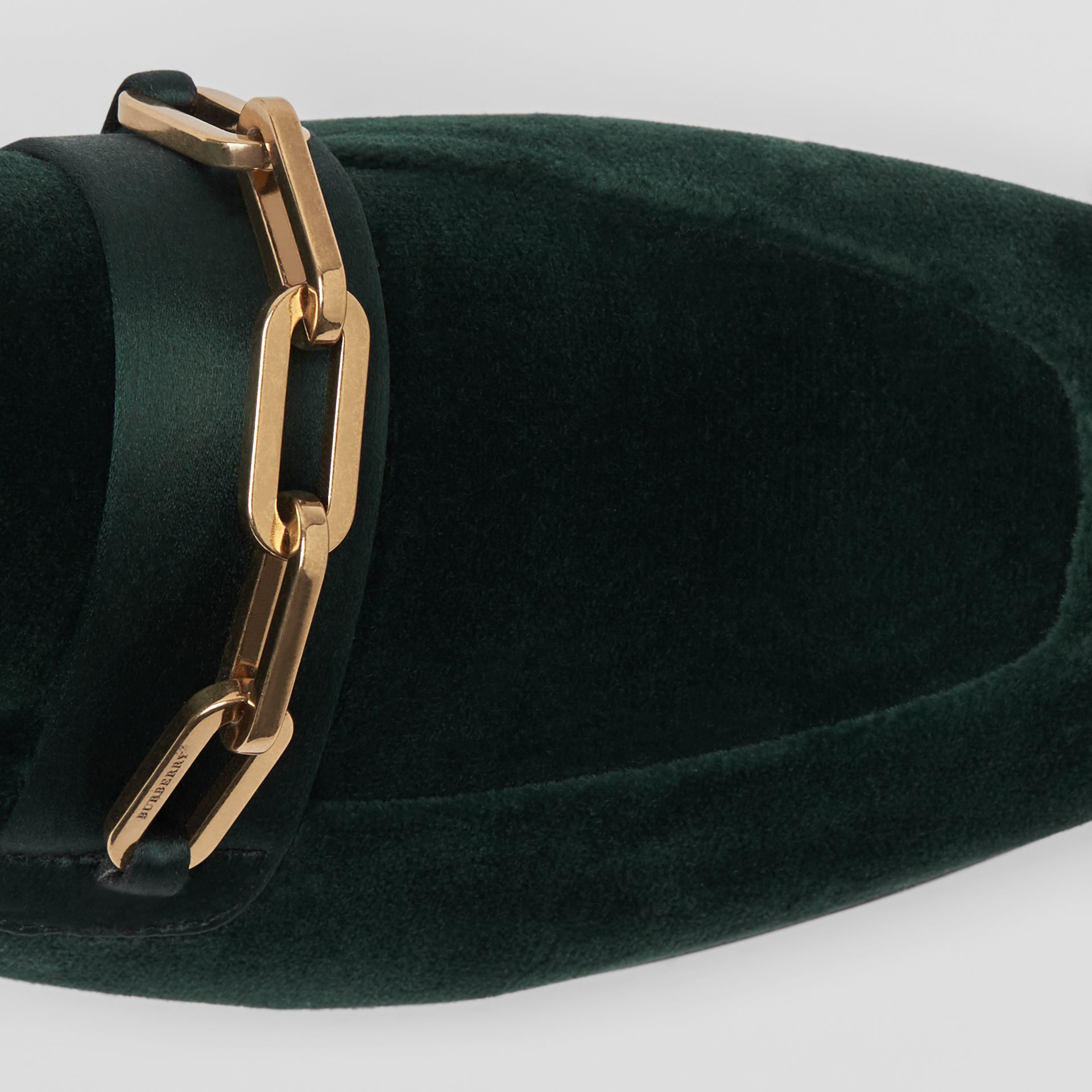 Link Detail Velvet Loafers in Dark Forest Green - Women | Burberry United Kingdom - gallery image 1
