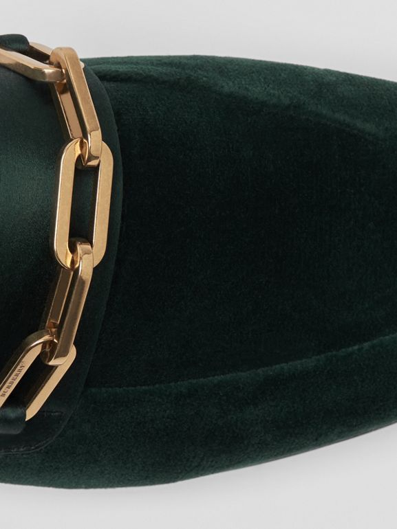 Link Detail Velvet Loafers in Dark Forest Green - Women | Burberry United Kingdom - cell image 1