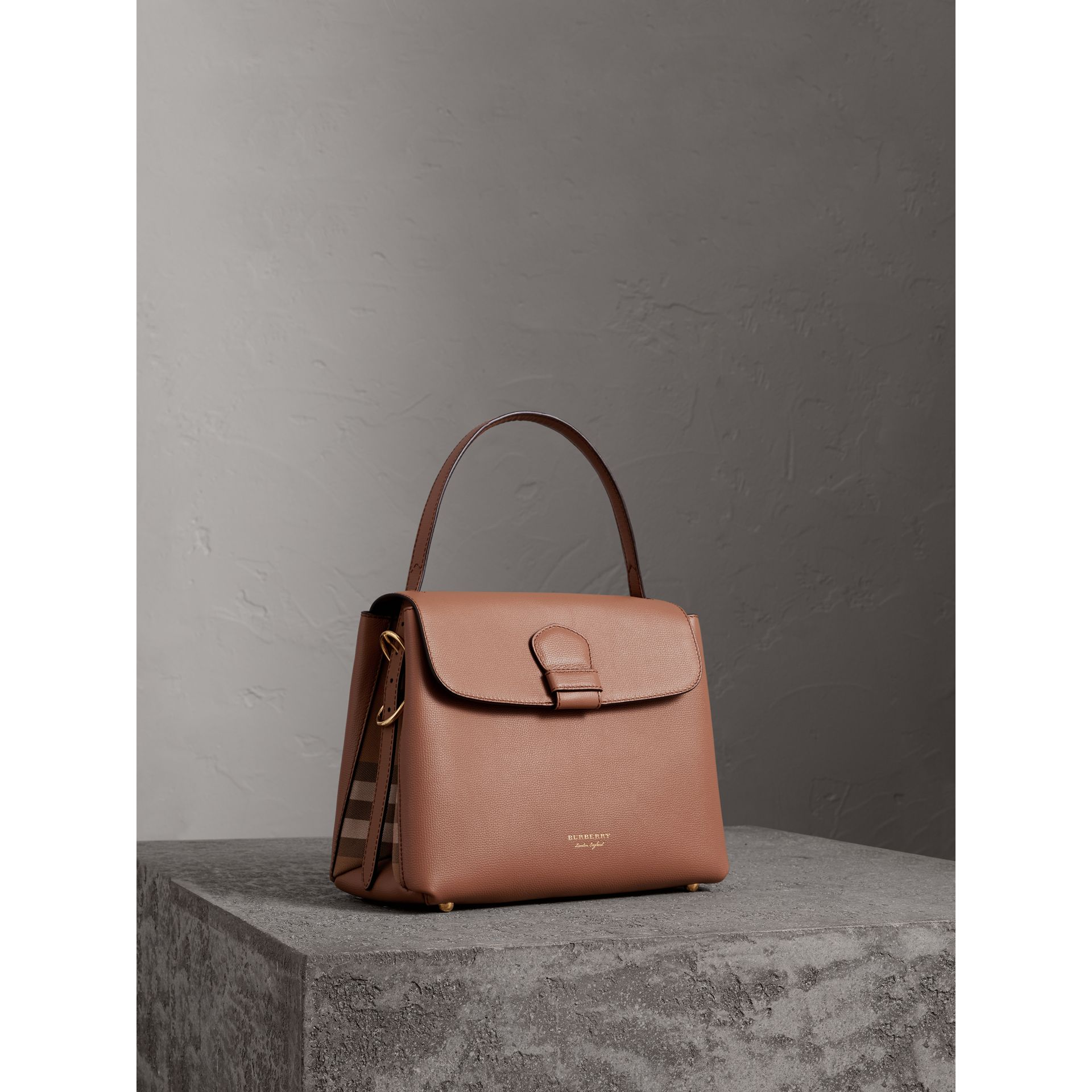 Medium Grainy Leather and House Check Tote Bag in Dark Sand - Women | Burberry - gallery image 0