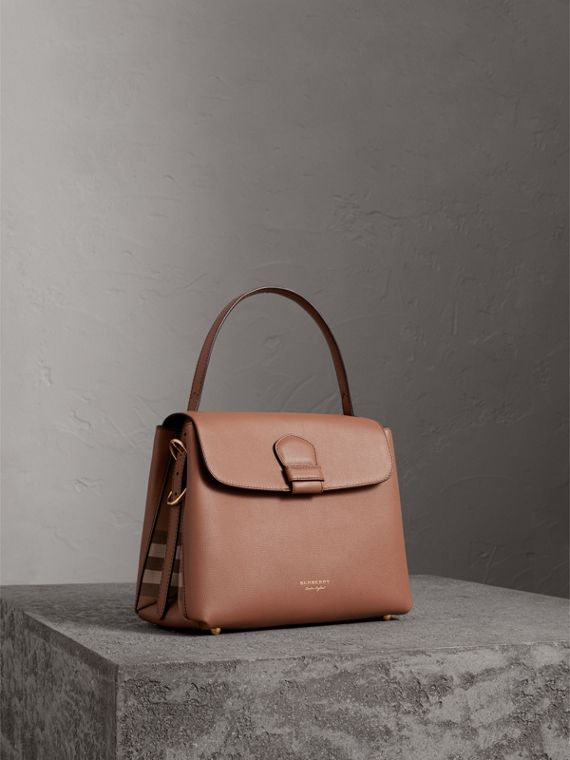 Medium Grainy Leather and House Check Tote Bag in Dark Sand